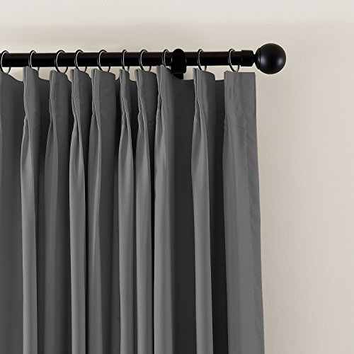 (TWOPAGES Blackout Thermal Insulated Curtains Indoor Fireproof Flame Retardant Curtains Pinch Pleat Grey Window Drapes (1 Panel, 52 Inch Width by 63 Inch Length))