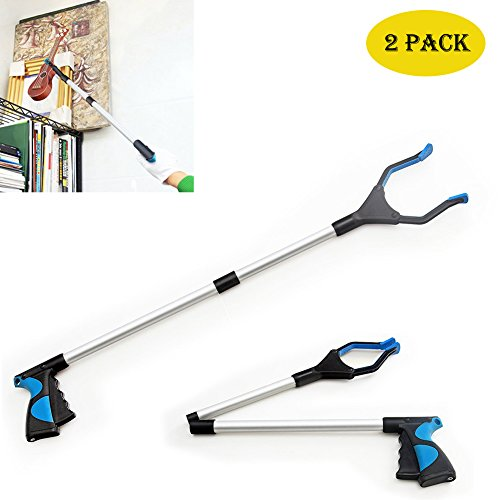 Greatstar 2 Pcs 32'' Grabber Tool,Ultra Light Handheld Grabber Tool for Trash Pickup,Foldable Reacher Grabber Reach Any Place Without Bending,Aluminum Material (2#Blue) by Greatstar