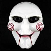 PCEPEIVK Masquerade Mask Horror Halloween Carnival Party Cosplay Billy Jigsaw Electric Saw Puppet Mask Masquerade Costume Prop White