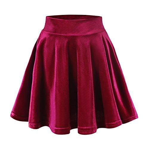 Urban GoCo Femmes Rtro Jupe Velours Plisse Patineuse Fille Elastique Court Mini Jupe Rouge