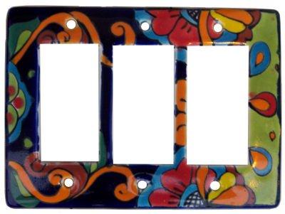 Fine Crafts Imports Rainbow Talavera Triple Decora Switch Plate