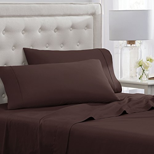 "Elizabeth Arden Soft Breeze 400 Thread Count Cotton 4-Piece Sheet Set – Natural Pure Long-Staple Cotton – Soft & Silky – Deep Fitted Pocket Fits Mattress up to 18"" - Full - Brown -"
