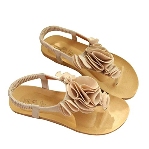 Clip Shoes Sandals Summer Women Inkach Sandals Beige Toe Bohemia Summer Beach Flower Z01A0Hq
