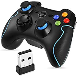 EasySMX Wireless 2.4G Game Controller with Vibration Fire Button range up to 10m Support PC (Windows XP/7/8/8.1/10), PS3, Android, Vista, TV Box Portable Gaming Joystick Handle (Black and Blue)