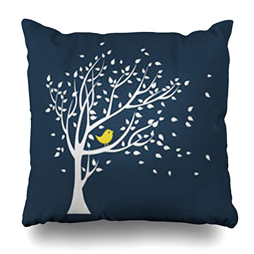 AileenREE Throw Pillow Covers White Graphic Tree Yellow Bird Falling Leaves Wall Leaf Foliage Forest Artistic August Design Pillowcase Square Size 18 x 18 Inches Home Decor Cushion Cases