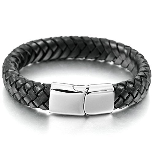 Bali Silver Bracelet Watch (Epinki, Men's 10mm Stainless Steel Genuine Leather Bracelet Bangle Cuff Silver Black Braided)