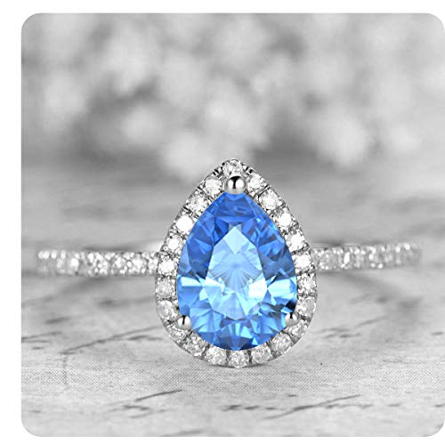 1.50 Ctw Pear Shaped Created Blue Topaz & White Diamond 14k White Gold Over .925 Sterling Silver Engagement Ring for Women's (Pear Topaz Shaped)