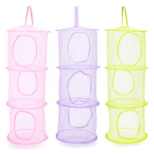 Mocollmax Mesh Hanging Storage Space Saver Bags with 3 Compartments Toy Storage Basket for Kids Room Organization mesh Hanging Bag 3Pcs Set, Pink,Green,Purple