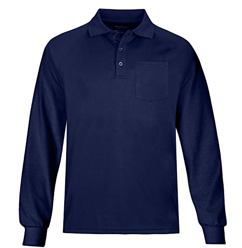 (MOHEEN Men's Long Sleeve Moisture Wicking Performance Golf Polo Shirt (2XL,Navy Black)