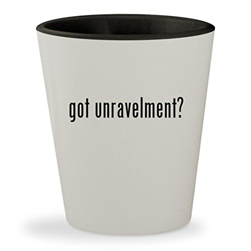 got unravelment? - White Outer & Black Inner Ceramic 1.5oz Shot Glass (Dna Silk Tie)
