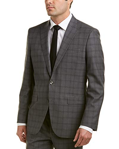 k Men's Slim fit 2 Button Wool Stretch Suit, Grey Plaid, 40R ()