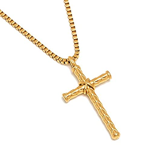Sunflower Jewellery Stainless Steel The Cross Pendant Necklace 18K Gold Chain Necklace For Men, Women (18K Gold; 24 inches (Gold Cross Stainless Steel)