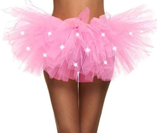 Simplicity Womens LED Light Tutu Skirt Dance Rave Tutu Skirt Dress,Light Pink -