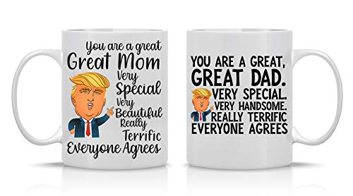 Great Mom Very Special, Great Dad Very Special - 11oz White Ceramic Coffee Mug Couples Sets - Funny His and Her Gifts -Husband and Wife Anniversary Presents - Wedding Gift - By CBT Mugs