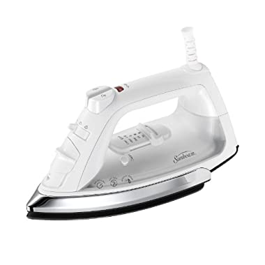 Sunbeam Classic 1200 Watt Mid-size Anti-Drip Non-Stick Soleplate Iron with Shot of Steam/Vertical Shot feature and 8' 360-degree Swivel Cord, White/Clear, GCSBCL-317-000