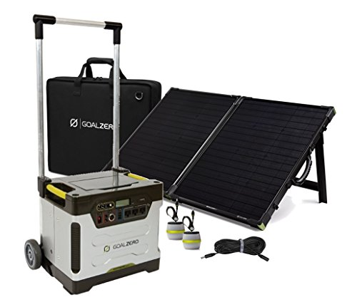 Extreme Solar Generator Kit Complete with Yeti 1250-Watt Generator, 100-Watt Solar Panel Suitcase with Carrying Case, 30-Foot Panel Extension and Two Light-A-Life Lamps - A Complete Goal Zero Package.
