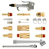 Hromee 20 Pieces 1/4 inch NPT Air Blow Gun and Brass Fittings Kit with Tire Inflation Needles Chuck Air Compressor...
