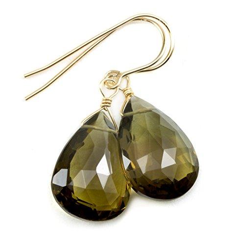 14k Yellow Gold Olive Green Quartz Earrings Faceted Briolette Large Teardrops