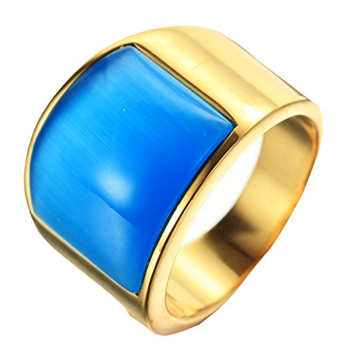 HIJONES Men's Stainless Steel Big Agate Stone Crystal Ring Gold Blue Size 8