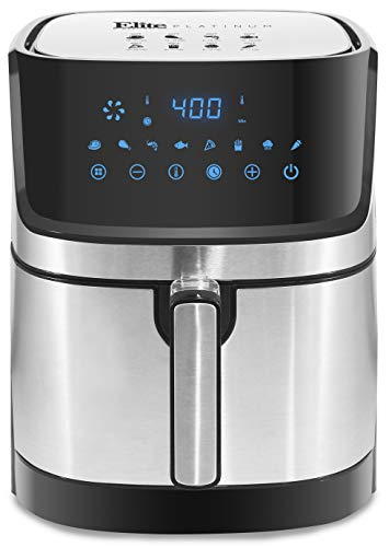 Maxi-Matic EAF-501SS Digital Hot Air Fryer with 8 Pre-Sets, Adjustable Time and Temperature for Oil-free Cooking, 5 Quart, Stainless Steel