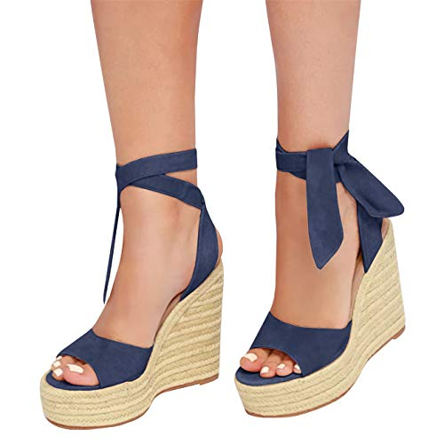 Kathemoi Womens Espadrille Wedge Sandals Ankle Strap Lace Up Slingback Platform Heeled Sandals D-Navy