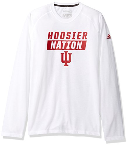 adidas NCAA Indiana Hoosiers Mens Block Statement Ultimate L/S Teeblock Statement Ultimate L/S Tee, White, Medium (Adidas Block Tshirt)