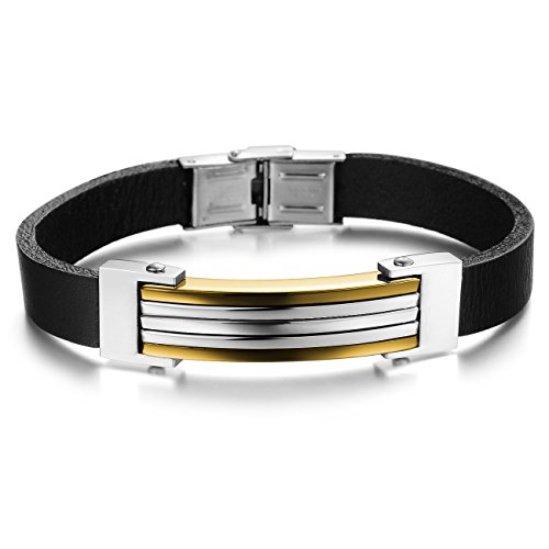 Elove Jewelry 8.26 Inch Black Leather Gold Stainles Steel Mens Bracelet