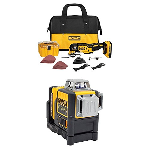 DEWALT DCS355D1 20V XR Lithium-Ion Oscillating Multi-Tool Kit and DW089LG 12V MAX 3 X 360 Line Laser, Green