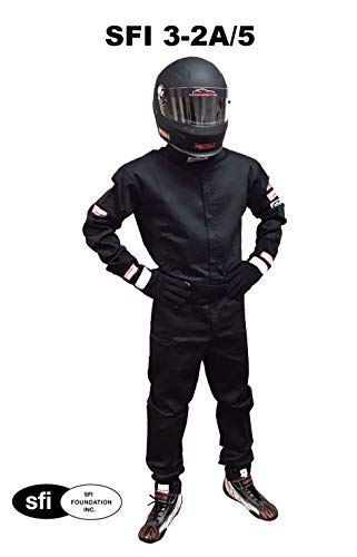 Racerdirect SFI 3.2A/5 Racing FIRE Suit 1 Piece Driving Suit Double Layer 3-2A/5 Black Adult 2X, 2XL, XXL ()