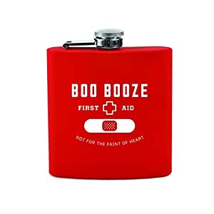 True by True Fabrications Boo Booze Soft Touch Stainless Steel Flask with Twist and Lift Lid and Funnel for Events, Picnics, Concerts, and More