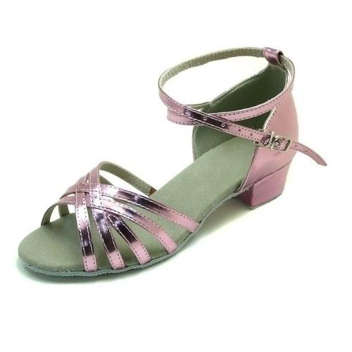 Colorfulworldstore Zapatos de baile latino de poliuretano en color dorado/ plateado/ púrpura con cinco correas de satén púrpura