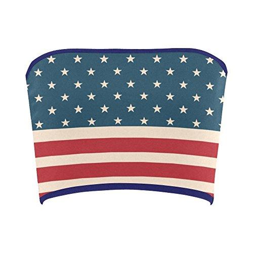 Women's Vintage Distressed American Flag Stars Stripes Tube Bra Bandeau Top - Top Flag Tube