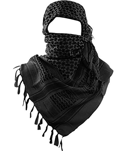 MAGNIVIT 100% Cotton Keffiyeh Tactical Desert Scarf Wrap Shemagh Head Neck Arab Scarf Black