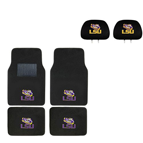 Cover Louisiana State University (Louisiana State University Head Rest Cover and Floor mat.Wow! Logo On Front and Rear Auto Floor Liner. You get 2 headrest covers and 4 Floor Mat in this gift set. Perfect to LSU Tigers Fan)