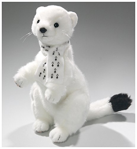 Carl Dick Weasel White with Scarf 9.5 inches, 24cm, Plush Toy, Soft Toy, Stuffed Animal 3309 (Ferret Plush)