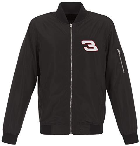 Mens Nascar Dale Earnhardt Sr Retro Lightweight Zip-Up Nylon Jacket Knit Trim (Large, -