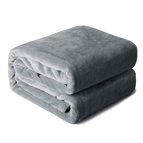Edow FlannelThrow Blanket, Soft Plush Lightweight Nap Throw Blanket for Couch, Sofa, Bed, Travel. (Light Gray, Twin(60