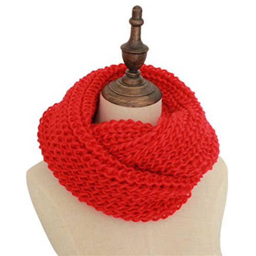 Autumn and Winter Thick Pure Ribbed Knitted Scarf Lovers Sleeve head Scarf Warm Infinity Circle Loop Scarf Red (Curtains Cheap Vancouver)