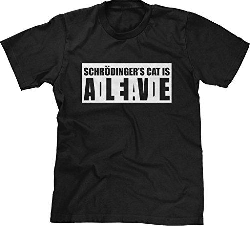 Blittzen Mens T-Shirt Schrodinger's Cat Alive Dead, 2XL, Black