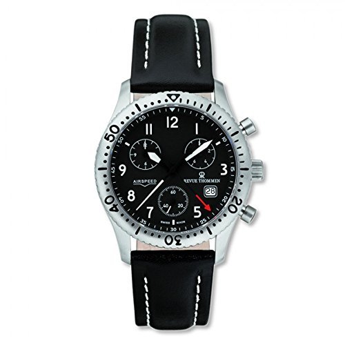 Revue Thommen Airspeed Classic Pilot Titanium Swiss Quartz Black Leather Men's Watch(Model:16001-9597)