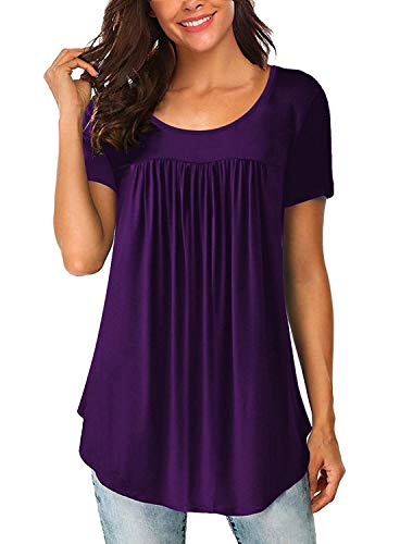 ELF QUEEN Womens Tops Summer Swing Ruffle Blouses Casual Flowy Loose Fit Short Sleeve Shirts Purple Small