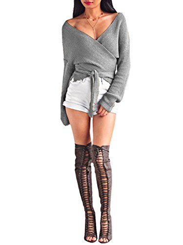 Glamaker Women's Wrap Long Sleeves Knit Sweater V Neck Cardigan with Tie Gray