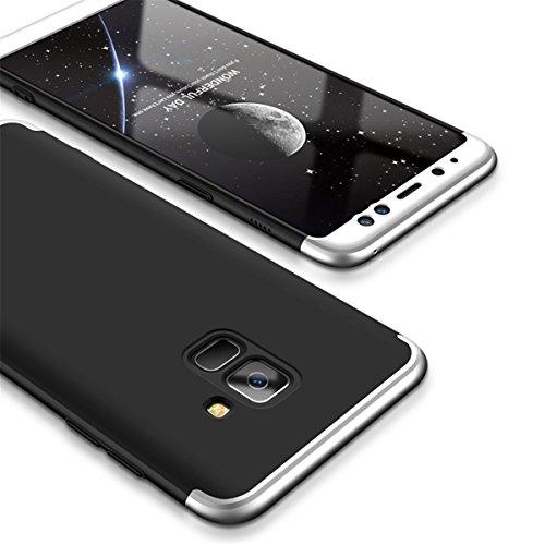 Coque Galaxy A8 2018, Galaxy A8 Plus 2018 Case 360 Protection PC 3 en 1 Full Cover Adamark Housse Integrale Bumper Etui Case Accessoires Ultra Fin Et Discret Pour Samsung Galaxy A8 / Galaxy A8 Plus 20 Argent Noir
