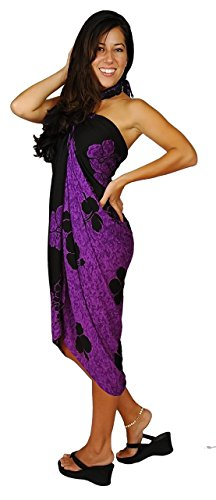 (1 World Sarongs Womens Hibiscus Flower Swimsuit Cover-Up Sarong in Purple/Black)