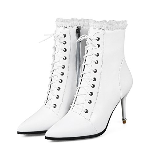 Zip Elegant Toe Womens Lace Boots Ankle Pointed up Shoes With Heels White High Agodor Stiletto SvaZq