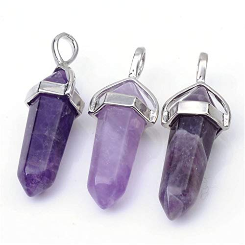 - 8pcs Natural Amethyst Gemstone Pendant Healing Crystals Chakra Gem Stones Rock Crystal Quartz for Jewelry Craft Making G2P-C4