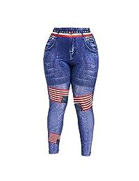 TIMEMEANS Women High Waist Yoga Pants Plus Size 3D Jean Print American Flag Leggings