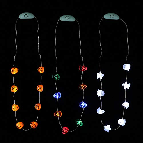 JASHIKA Halloween Eve Costume Party Accessories, Lighting Up LED Necklace Set of 3, Ghost, Jack O Lantern Pumpkin, Skull for Trick or Treating Door to Door Parade Procession