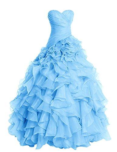 Senza sera Vestito ballo spalline Organza Blu Ruffles da Lungo Quinceanera Abiti da PRTS vestito vxqwA185