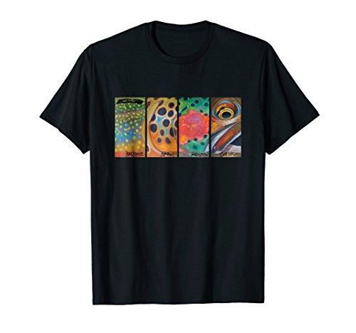 Cutthroat Rainbow Brook Brown Trout T-Shirt Derek DeYoung ()
